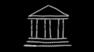 bank icon designed with drawing style on a blackboard, animated footage ideal for compositing and motiongrafics