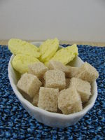 Fresh and tasty homemade butter with bread cubes