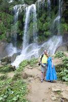 man and woman near waterfalls Soroa, Pinar del Rio, Cuba