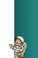 boy child son astronaut. Point to copy space poster