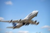 Boeing 747 of Lufthansa with motion blur