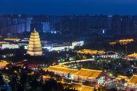 big wild goose pagoda in xi 'an at night