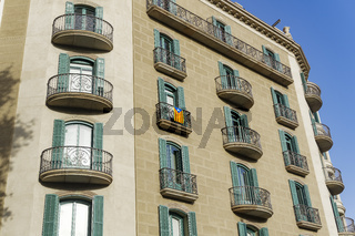 Barcelona, Spain Catalan flag on a building balcony.