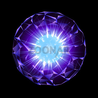 Purple Energy Sphere With Glowing Blue Core Isolated On Black Background