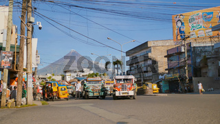 Legazpi, Philippines - January 5, 2018: Public transport at the street of Legazpi.