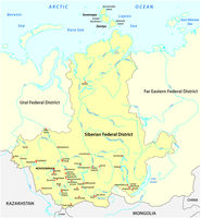 Map of the Russian Siberian Federal District with major cities and rivers