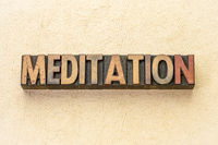 meditation word abstract in wood type
