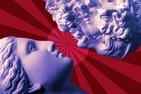 Antique statues of woman and man heads close up on a red background. Concept of music, style, vintage, love.