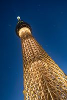 TOKYO, JAPAN - 17 FEB 2018: Tokyo Skytree tower from below, low angle shot at blue hour. The tallest structure in Japan.