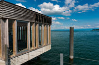 close up view of the jetty house at the end of the Altnau pier on Lake Constance