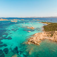 Drone aerial view of Razzoli, Santa Maria and Budelli islands in Maddalena Archipelago, Sardinia, Italy.