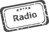 radio Rubber Stamp over a white background