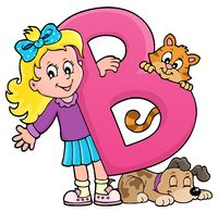 Girl and pets with letter B