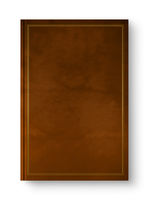 Closed leather blank book with frame isolated on white