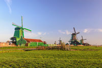 Amsterdam Netherlands, Dutch Windmill and traditional house at Zaanse Schans Village