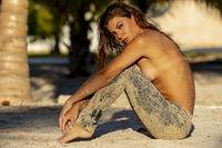 Hispanic Nude Brunette Model Enjoying A Sunny Day