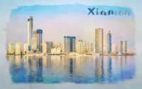 Water color of skyline of the city of Xiamen with reflections