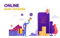 Money transaction around world, business, mobile banking and mobile payment. Vector illustration