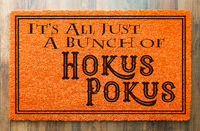 It's All A Bunch Of Hokus Pokus Halloween Orange Welcome Mat On Wood Floor Background