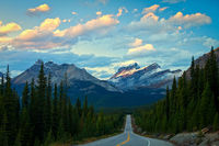 Evening light on the mountains along the Icefields Parkway in Banff National Park
