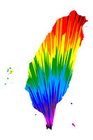 Taiwan - map is designed rainbow abstract colorful pattern, Republic of China (ROC) map made of color explosion,