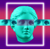 Modern conceptual art green purple colorful poster with ancient statue of Venus de Milo head. Contemporary art collage.