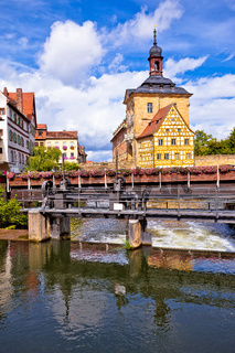 Bamberg. Scenic view of Old Town Hall of Bamberg (Altes Rathaus) with two bridges over the Regnitz river