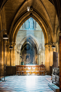 Light Rays Spilling Over Wooden Chairs St Patrick Cathedral Dublin Ireland