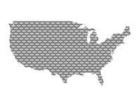 Karte der USA auf grobem Gewebe - Map of the USA coarse meshed