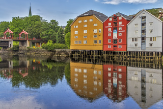 Old Drawbridge and Warehouses On The River, Trondheim Norway