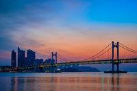 Gwangan Bridge on sunrise. Busan, South Korea