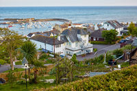 The view from the Seafront garden to the Cobb harbor of Lyme Regis. West Dorset. Englandst Dorset. England