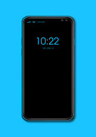 All-screen black smartphone mockup isolated on blue. 3D render