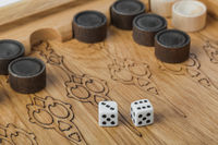 Backgammon playing field and dices