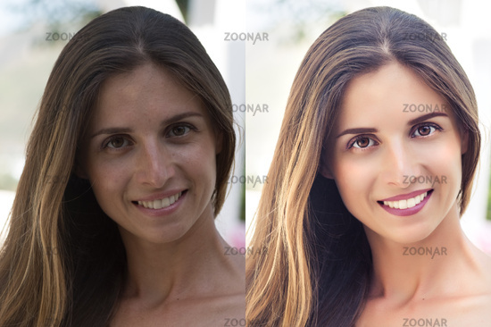 Befor and after retouching collage