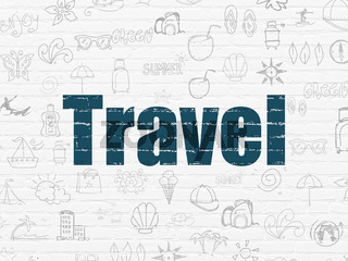 Vacation concept: Travel on wall background