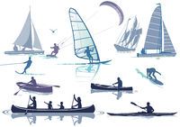 Free time on the water, water sports - vector illustration