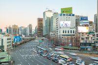 Seoul city traffic in Korea.