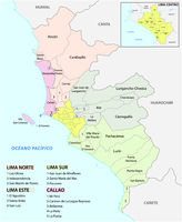 Lima metropolitan area administrative and political map in spanish language