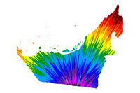 United Arab Emirates - map is designed rainbow abstract colorful pattern, United Arab Emirates (UAE) map made of color explosion,