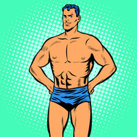 Man swimmer in swimming trunks