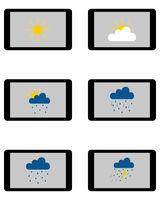 Verschiedene Wettersymbole auf Tablet - Various weathers symbols on Tablet
