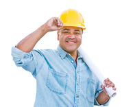 Hispanic Male Contractor In Hard Hat with Blueprint Plans Isolated on a White Background