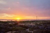 Salt lake of Las Salinas in the Torrevieja spanish resort town during sunset,  Spain