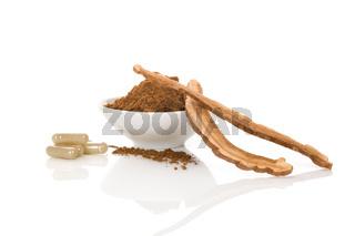 Ganoderma Lucidum mushroom gel capsules and powder.