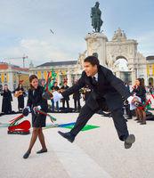 Students perform dance Lisbon Portugal