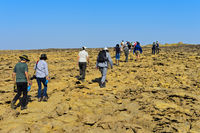 Overtourism, groups of tourists on the way to the Dallol caldera, Afar Triangle, Ethiopia