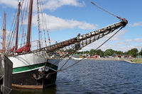 disused sailing ships in the museum harbor on the Ryck