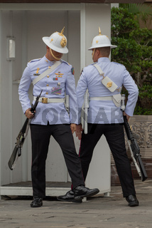 White-jacketed Grand Palace soldiers near sentry box