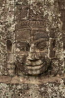 Frieze of Buddha face in Bayon ruins
